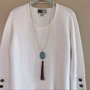 3 FOR $20  Boho Pearl & Turquoise Tassel Necklace